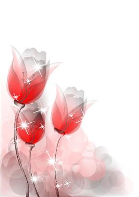 唯美水彩花朵矢量背景