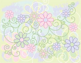 淡雅花纹花朵矢量背景