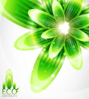 绿色星光花朵矢量背景