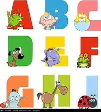 彩色卡通装饰字母