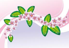粉色花朵绿叶动感曲线矢量背景