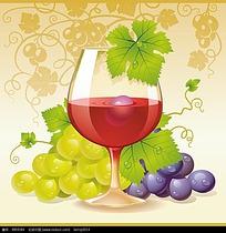 带有葡萄的高脚杯红酒插画