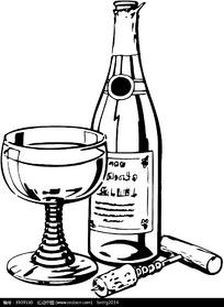 黑色高脚杯红酒启盖器图形
