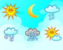 矢量卡通天气图标图案