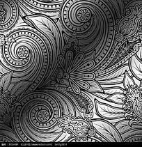 精美黑白花纹矢量背景