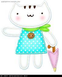 可爱白色小猫咪时尚风格插画