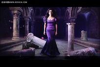欧式古建筑美女视频