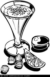 高脚杯饮料矢量黑白图像