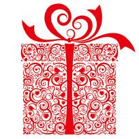花纹礼物盒矢量图形