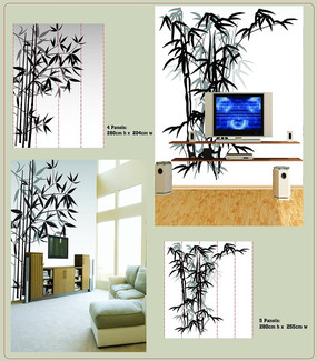 3D竹子背景墙PSD素材