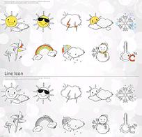 可爱天气动画图标AI