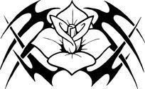 尖锐叉子与四瓣花纹身图案