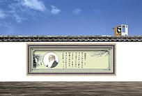 建筑墙体复古水墨画宣传画ps素材
