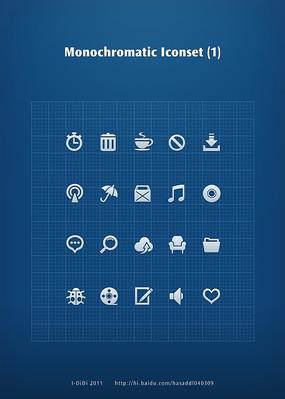 蓝色背景白色手机UI图标