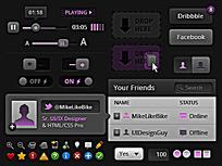 紫色黑色风格手机界面设计UI元素