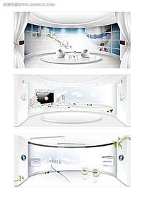 3款白色环形展厅效果图