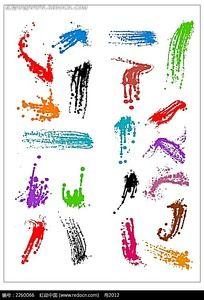 彩色墨滴喷溅矢量图