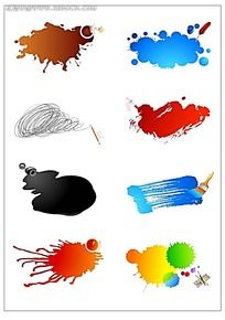彩色随意笔触矢量图