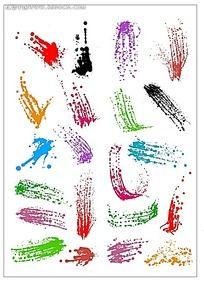 彩色颜料喷溅矢量图
