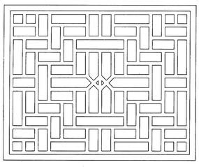 簡單鏤空雕刻方形圖案
