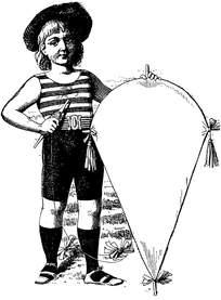 拿着风筝的男孩插画设计