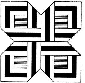 方形線描黑白花卉圖案花邊素材設計