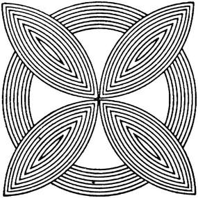 橢圓與圓形構成黑白線條圖案