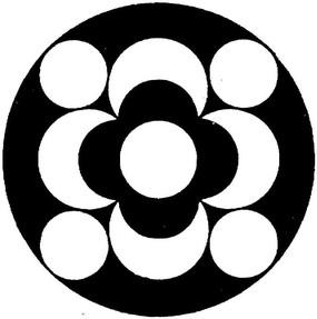 圓形黑白花卉圖案花邊素材