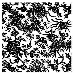 古典龙凤花卉花纹
