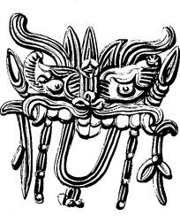狮子头仿古花纹矢量素材