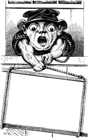 黑白卡通人物留白插圖