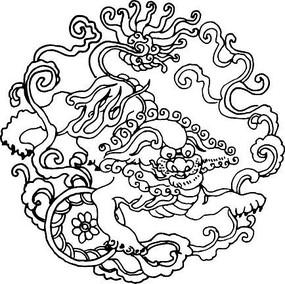 白描古代神兽花纹