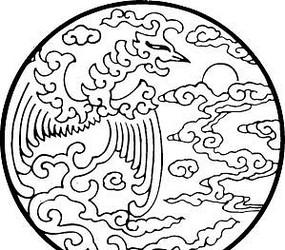 圆形白描凤凰花纹