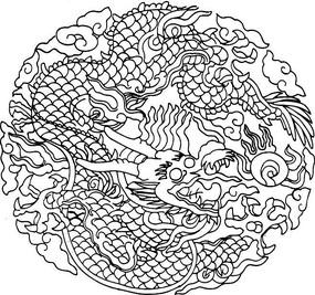 圆形白描龙纹图案