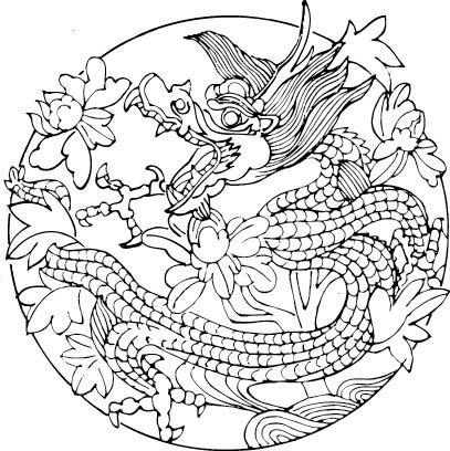 白描花卉龙纹图案图片