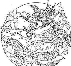 白描花卉龙纹图案
