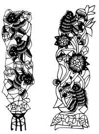 创意猴子花卉剪纸图案