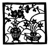 花瓶里的梅花和花盆里的兰花剪纸图
