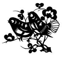 梅花树枝上的两只小鸟黑白剪纸图