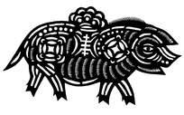 唯美小猪窗花剪纸图案