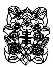 复古花纹窗格剪纸图案