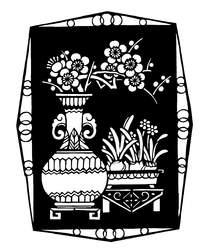 花瓶里的梅花和盆栽黑白剪纸图