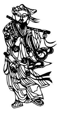 吹笛古人剪纸图案