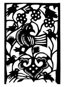 梅花树上的鸟黑白剪纸图