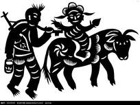 儿童骑驴人物窗花剪纸