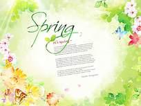 绿叶花朵蝴蝶梦幻卡片设计