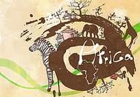 非洲的野生动物和树木以及房屋插画psd素材