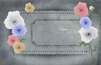 牛仔布底纹玫瑰花背景图片