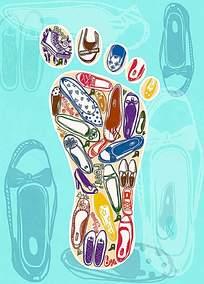 创意脚丫标志背景设计