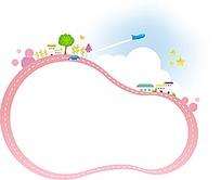 粉色葫芦形边框和房屋树木飞机汽车插画